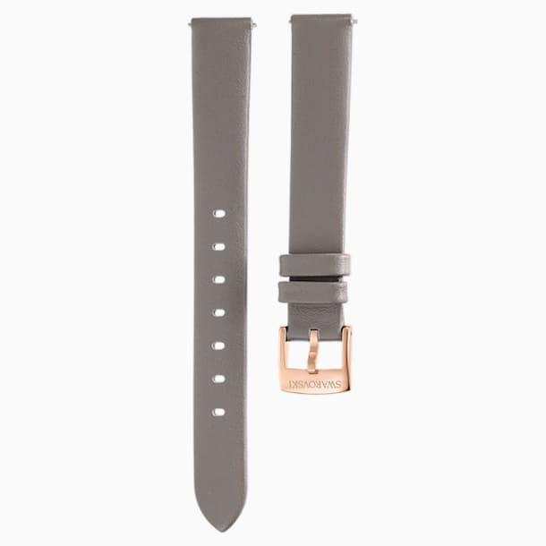 Cinturino per orologio 13mm, Pelle, grigio talpa, PVD tonalità oro champagne - Swarovski, 5485043