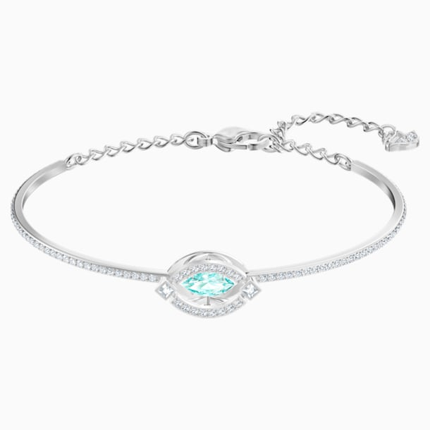 Swarovski Sparkling Dance Bangle, Green, Rhodium plated - Swarovski, 5485722