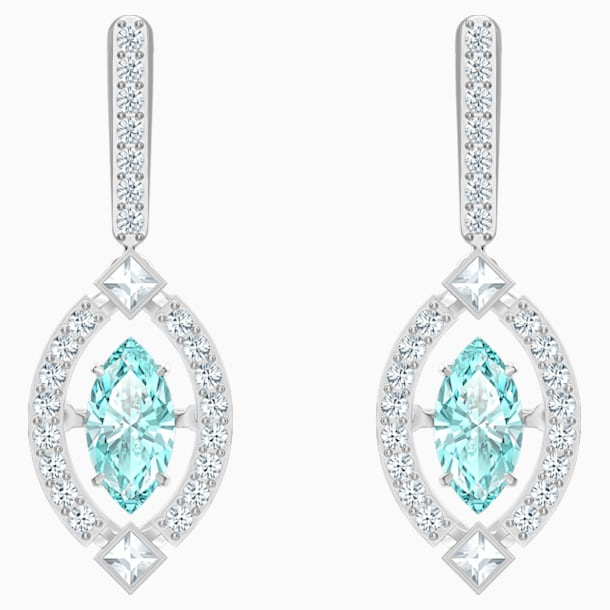 스와로브스키 Swarovski Sparkling Dance Pierced Earrings, Green, Rhodium plated