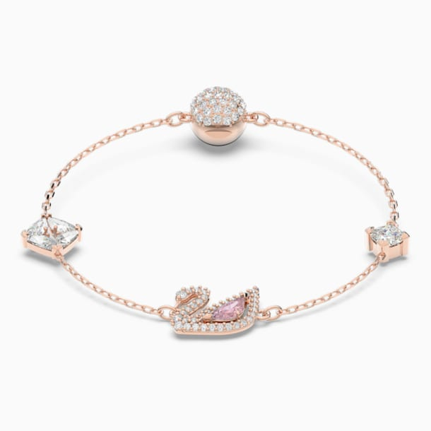 Dazzling Swan Bracelet, Multi-coloured, Rose-gold tone plated - Swarovski, 5485876