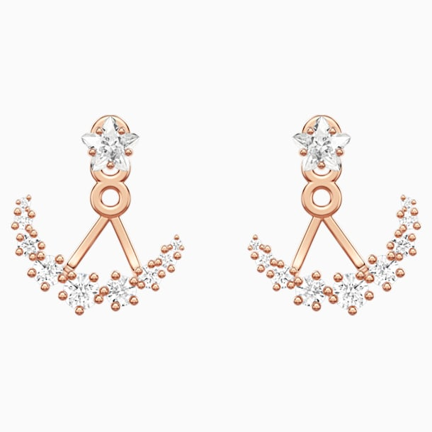 Moonsun Pierced Earring Jackets, White, Rose-gold tone plated - Swarovski, 5486351