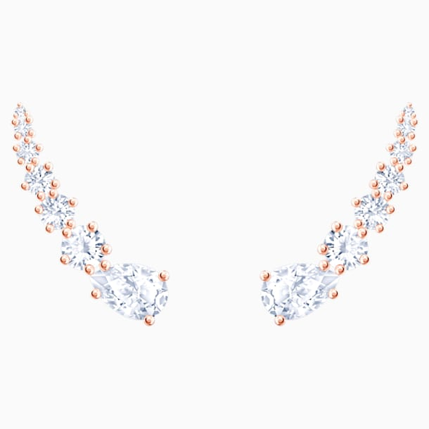 Moonsun Pierced Earrings, White, Rose-gold tone plated - Swarovski, 5486352