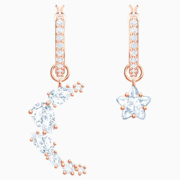 Penélope Cruz Moonsun Drop Pierced Earrings, White, Rose-gold tone plated - Swarovski, 5486354