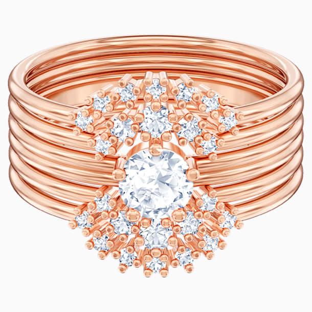 Moonsun Ring Set, White, Rose-gold tone plated - Swarovski, 5486359