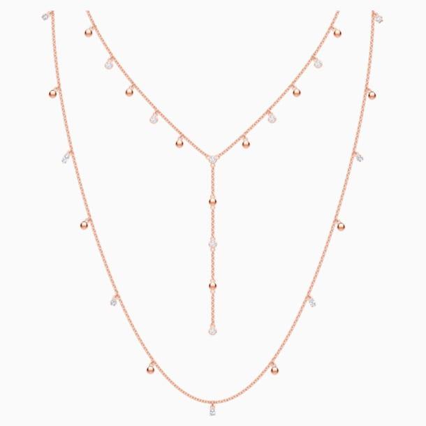 Náhrdelník MoonSun Penélope Cruz, dlouhý, bílý, pozlacený růžovým zlatem - Swarovski, 5486650