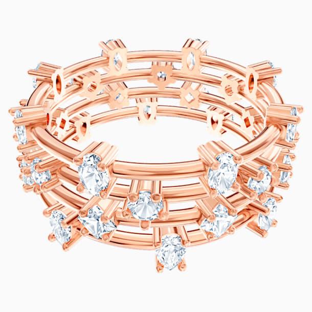 Pierścionek warstwowy Moonsun, biały, w odcieniu różowego złota - Swarovski, 5486804