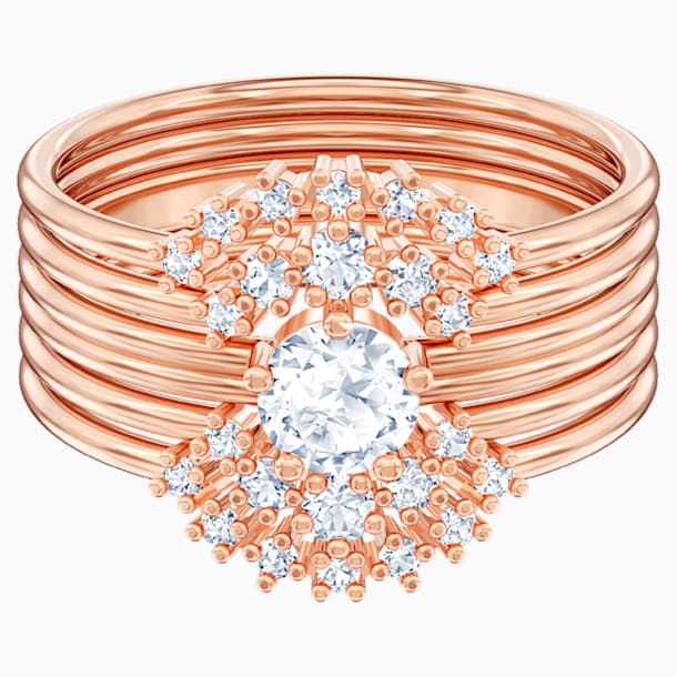 Moonsun Ring Set, White, Rose-gold tone plated - Swarovski, 5486809