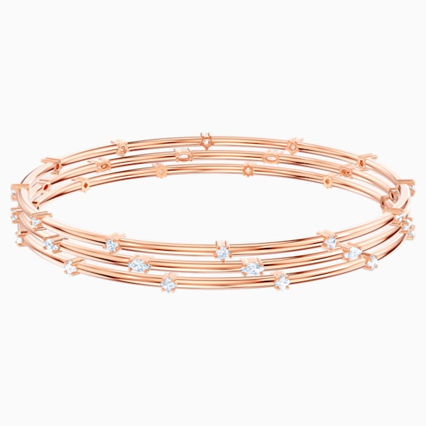 Penélope Cruz Moonsun Cluster Bangle, White, Rose-gold tone plated - Swarovski, 5486815