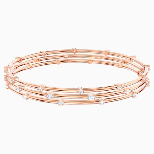 Parure de bracelets-joncs Moonsun, Blanc, Métal doré rose - Swarovski, 5486815