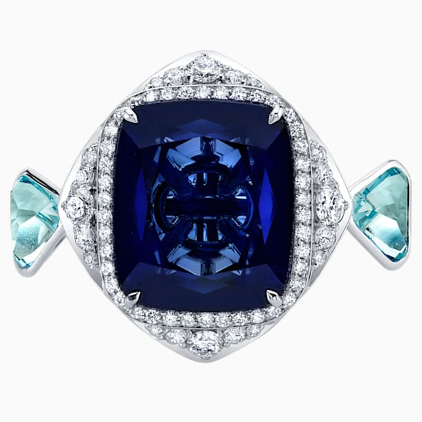 Azure Blue Cocktail Ring, 18K White Gold, Size 55 - Swarovski, 5487267