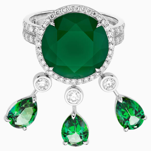 Rainforest Green Cocktail Ring, 18K White Gold, Size 52 - Swarovski, 5487284