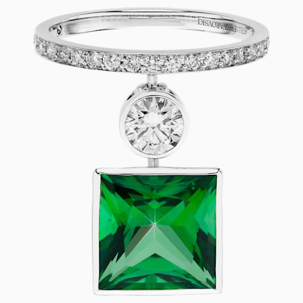 Rainforest Green Ring, 18K White Gold, Size 55 - Swarovski, 5487288