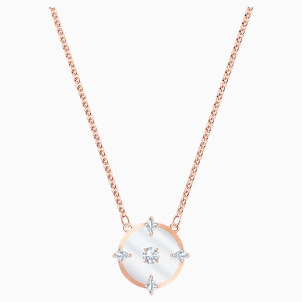 Collier North, blanc, Métal doré rose - Swarovski, 5488400