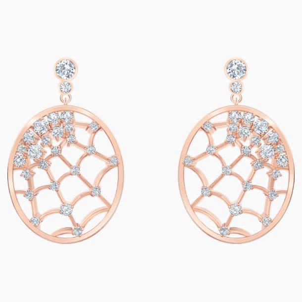 Precisely 水滴形穿色耳環, 白色, 鍍玫瑰金色調 - Swarovski, 5488406