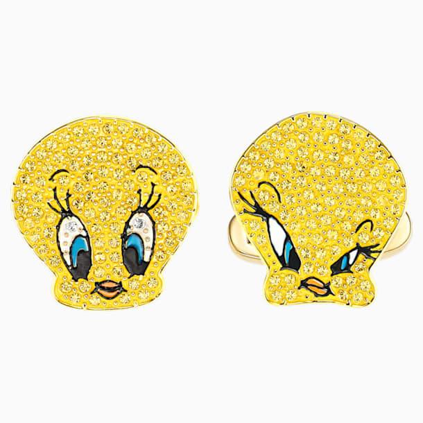 Looney Tunes 트위티 커프스링크, 옐로우, 골드 톤 플래팅 - Swarovski, 5488598