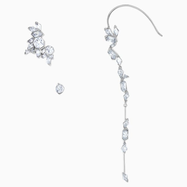 Ice Crack Ear Cuff, White, Ruthenium plated - Swarovski, 5489075