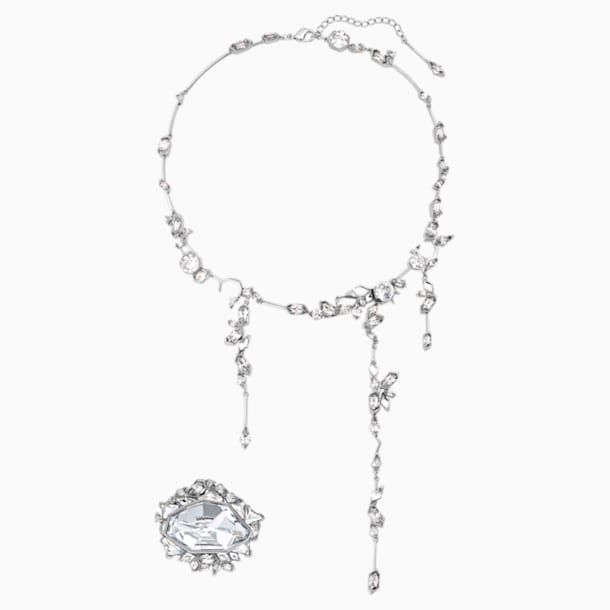 Ice Crack Set, White, Ruthenium plated - Swarovski, 5489077