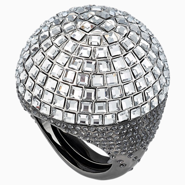 Celestial Fit Cocktail Ring, Grey, Black Ruthenium - Swarovski, 5489079