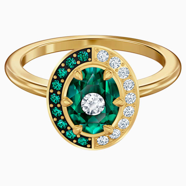 Black Baroque Motif Ring, Green, Gold-tone plated - Swarovski, 5489128