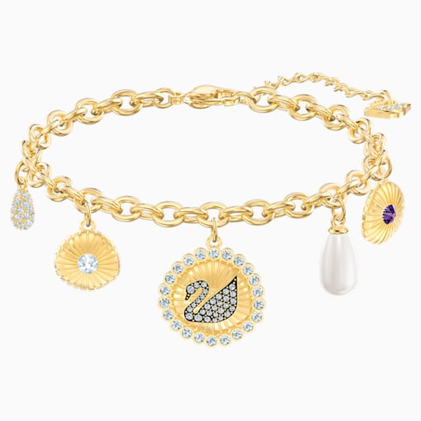 Vintage Swan Bracelet, Multi-coloured, Gold-tone plated - Swarovski, 5489217