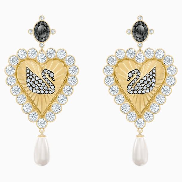 Vintage Swan Drop Pierced Earrings, Multi-coloured, Gold-tone plated - Swarovski, 5489221