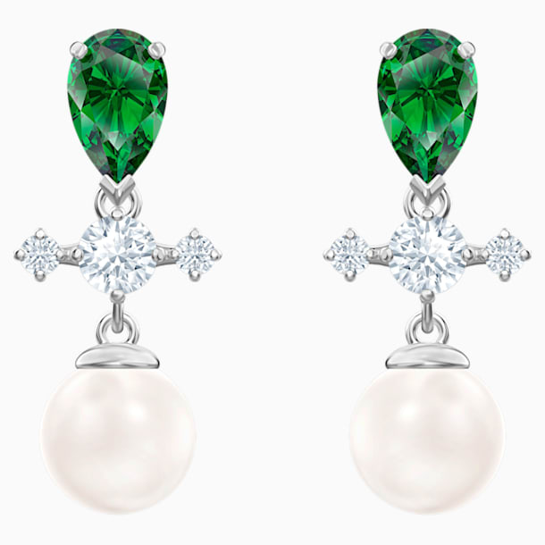 Perfection Drop Pierced Earrings, Green, Rhodium plated - Swarovski, 5489440