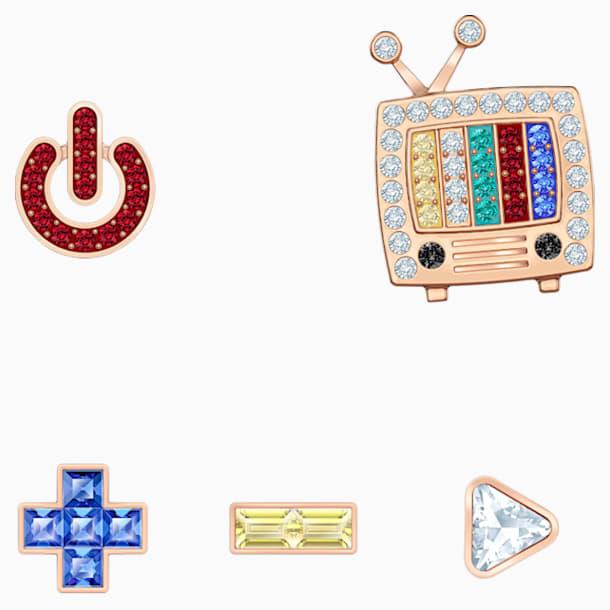 Play 穿孔耳環, 多色設計, 鍍玫瑰金色調 - Swarovski, 5489442
