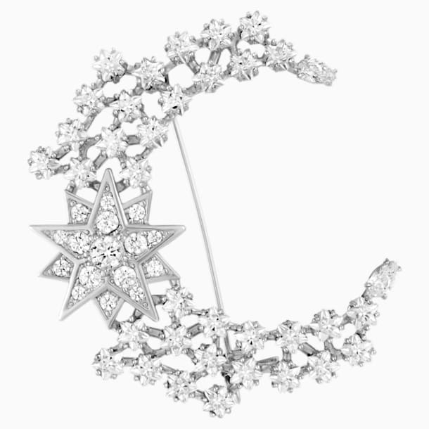Moonsun 胸针, 白色, 镀铑 - Swarovski, 5489759