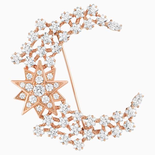 Moonsun 胸针, 白色, 镀玫瑰金色调 - Swarovski, 5489775