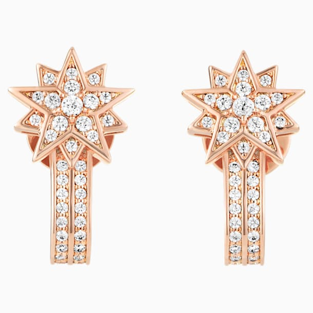 Moonsun Pierced Earring Jackets, White, Rose-gold tone plated - Swarovski, 5489778