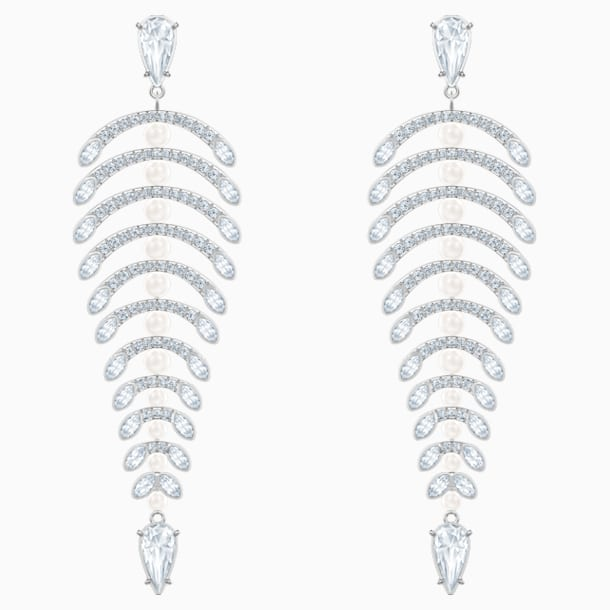 Polar Bestiary Chandelier Pierced Earrings, White, Rhodium plated - Swarovski, 5489887