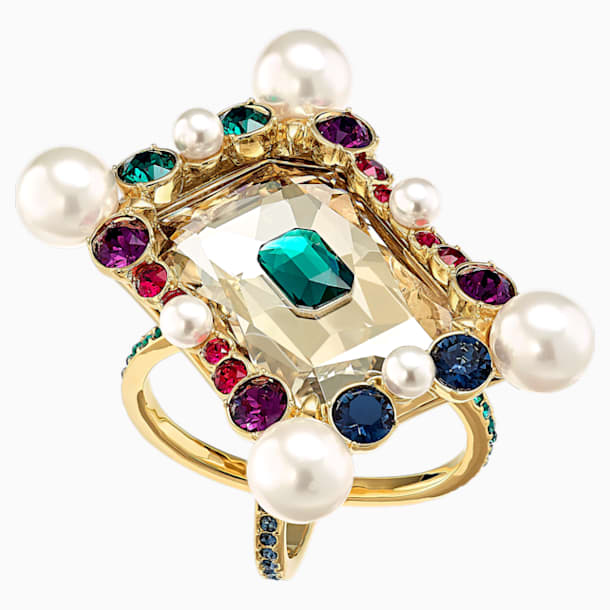 Vintage Opulescence Cocktail Ring, Multi-coloured, Gold-tone plated - Swarovski, 5490225