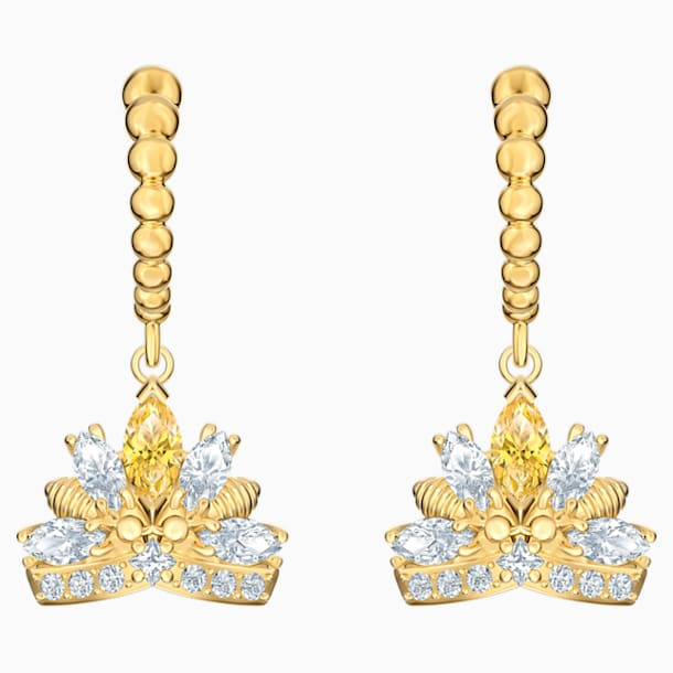 Bee A Queen 水滴形穿色耳環, 黃色, 鍍金色色調 - Swarovski, 5490439