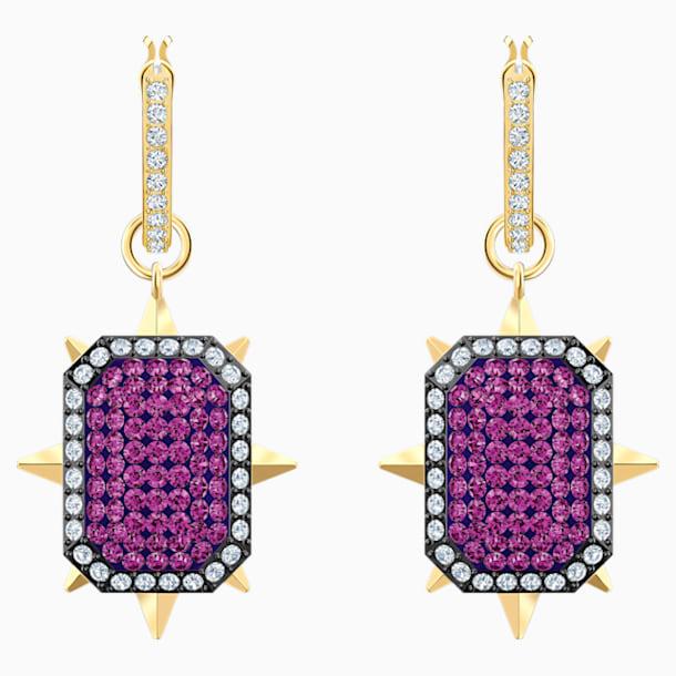 Pendientes de aro Tarot Magic, violeta, Baño en tono Oro - Swarovski, 5490915