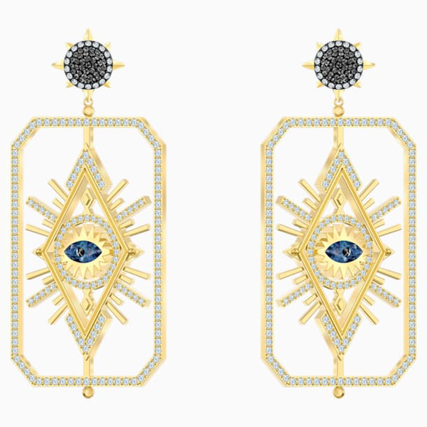 Tarot Magic Pierced Earrings, Multi-colored, Gold-tone plated - Swarovski, 5490920