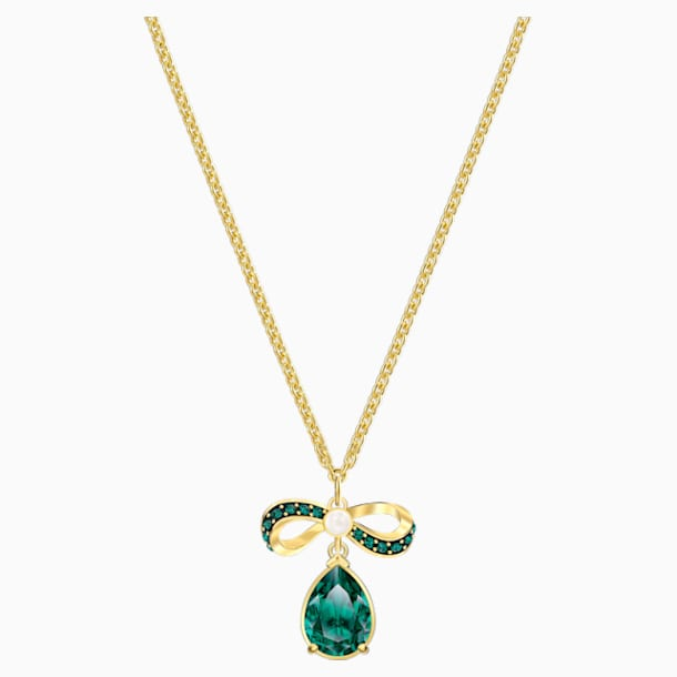 Black Baroque Pendant, Green, Gold-tone plated - Swarovski, 5490974
