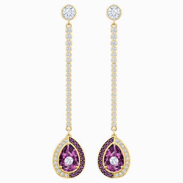 Black Baroque 水滴形穿色耳環, 紫色, 鍍金色色調 - Swarovski, 5490983