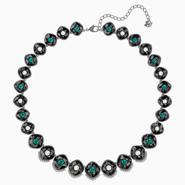 Black Baroque Necklace, Multi-colored, Ruthenium plated - Swarovski, 5490986