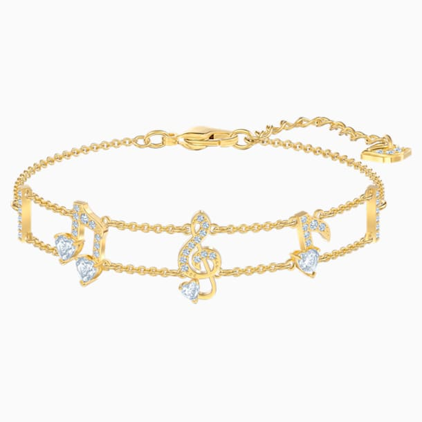 Pleasant Bracelet, White, Gold-tone plated - Swarovski, 5491658