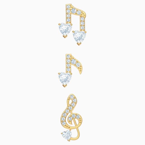 Parure boucles d'oreilles Pleasant, blanc, Métal doré - Swarovski, 5491659