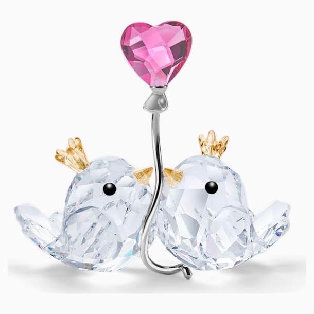 Zamilovaní ptáčci, růžové srdce - Swarovski, 5492226