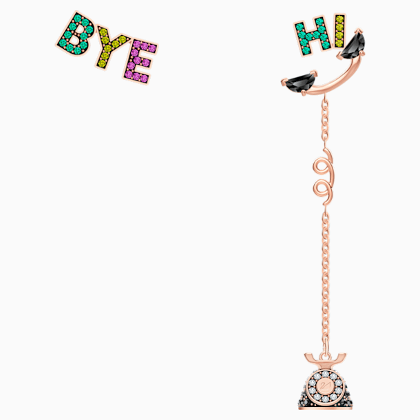 Play Asymetric Pierced Earrings, Multi-colored, Rose-gold tone plated - Swarovski, 5492810