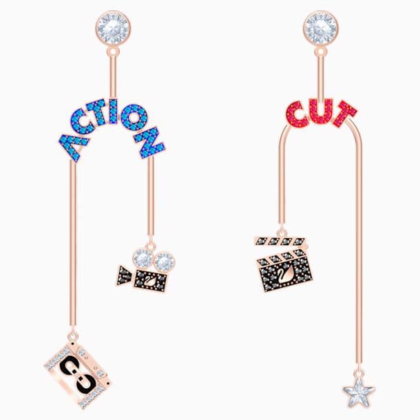 Play Mobile Pierced Earrings, Multi-coloured, Rose-gold tone plated - Swarovski, 5492812