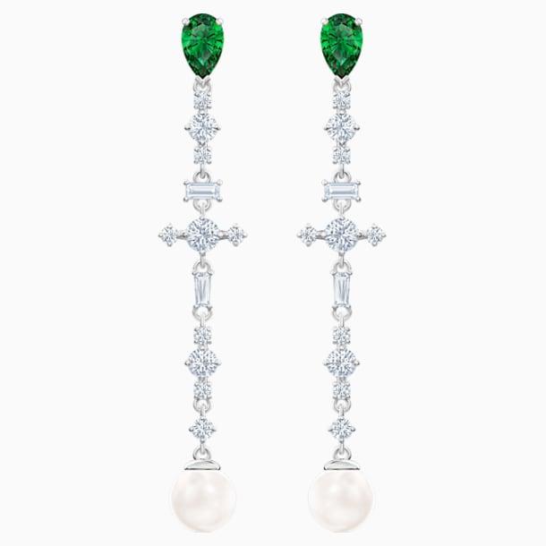 Perfection Pierced Earrings, Green, Rhodium plated - Swarovski, 5493098