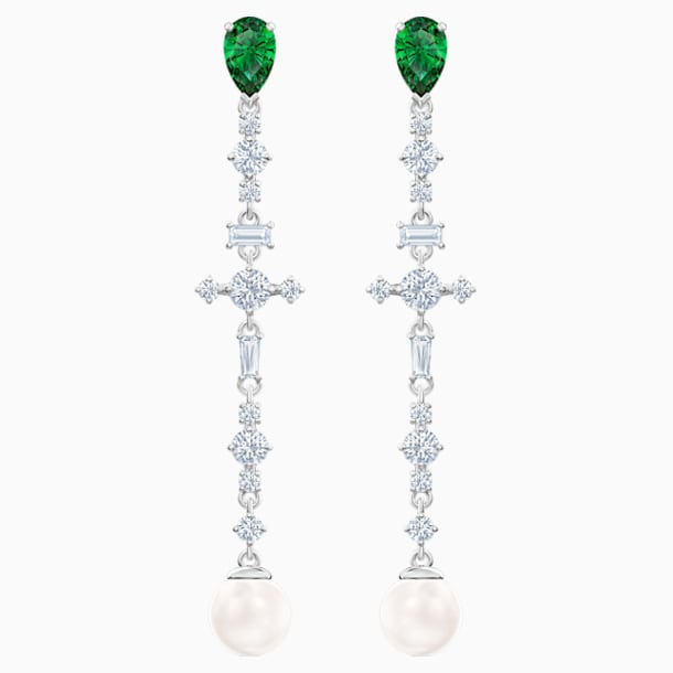 Perfection Pierced Earrings, Green, Rhodium plated - Swarovski, 5493098