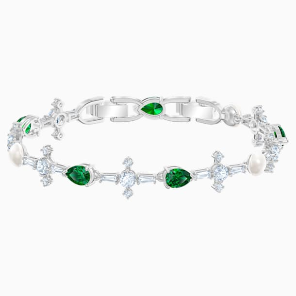 Perfection 手链, 绿色, 镀铑 - Swarovski, 5493102