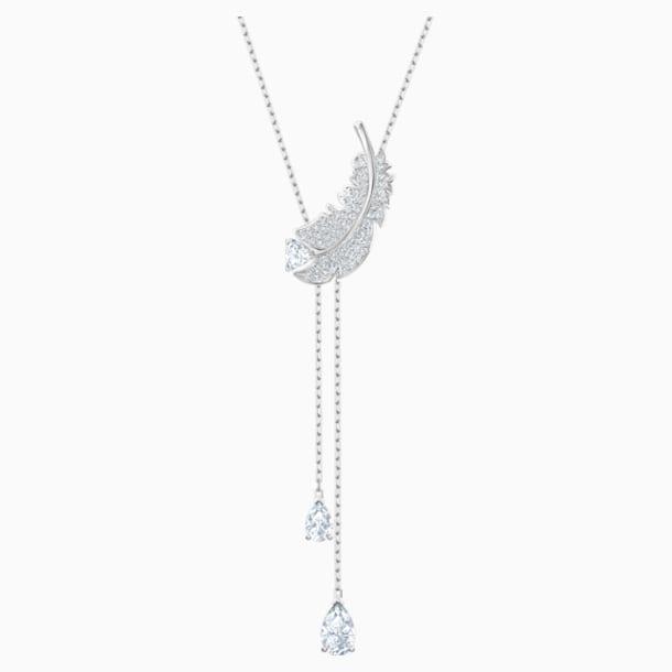 Nice Y Necklace, White, Rhodium plated - Swarovski, 5493397