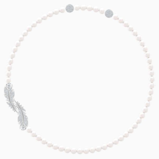 Κολιέ Nice, λευκό, επιροδιωμένο - Swarovski, 5493403
