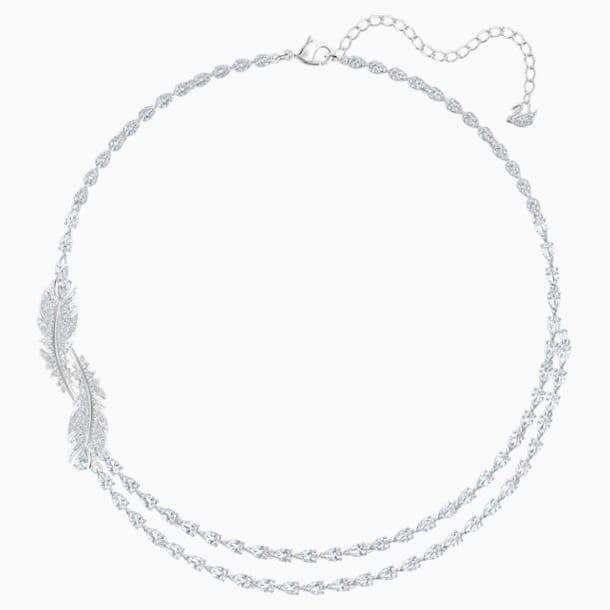 Náhrdelník Nice, Bílý, Rhodiem pokovený - Swarovski, 5493404