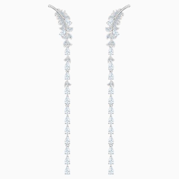 Nice Pierced Earrings, White, Rhodium plated - Swarovski, 5493406